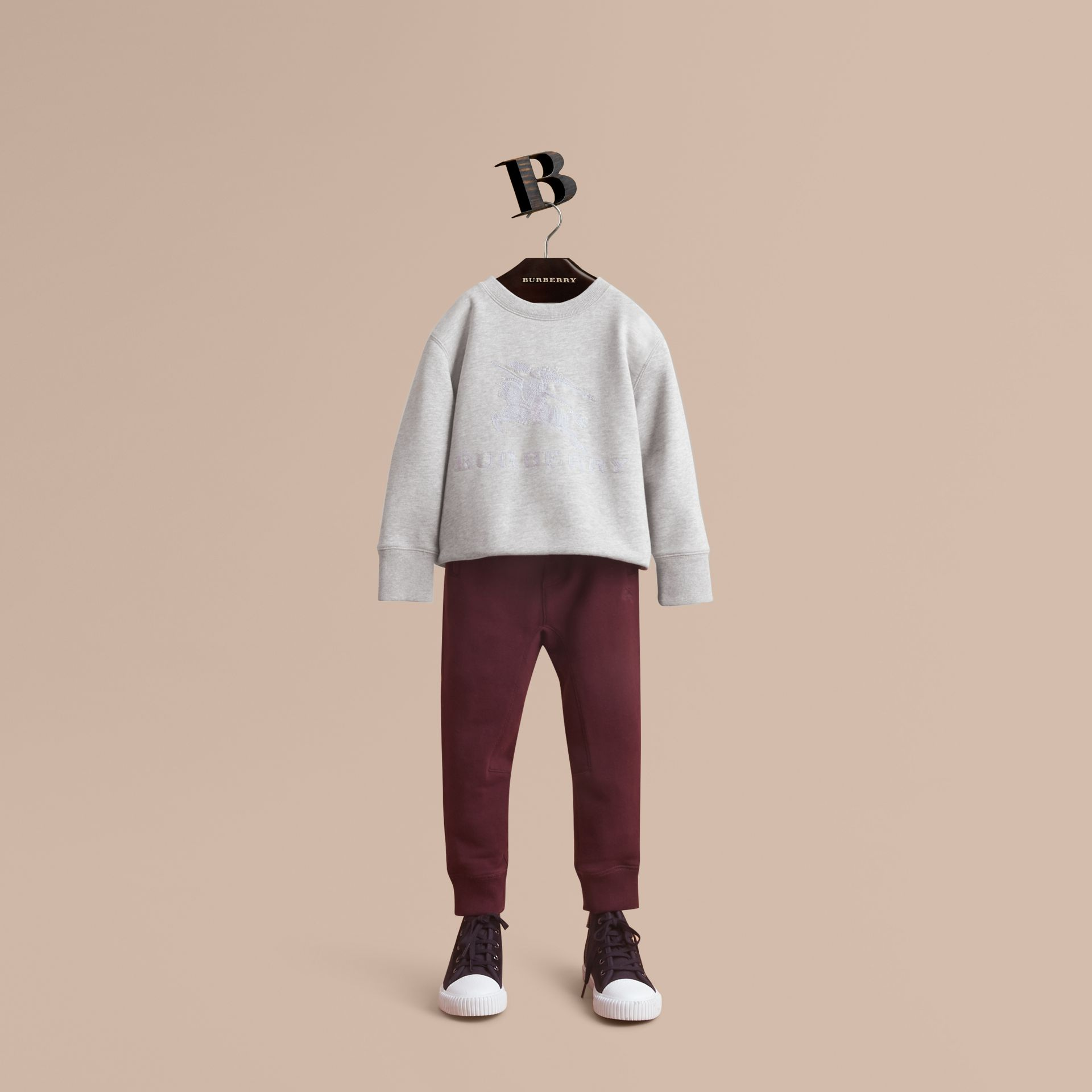 Drawcord Cotton Sweatpants in Burgundy - Boy | Burberry - gallery image 1