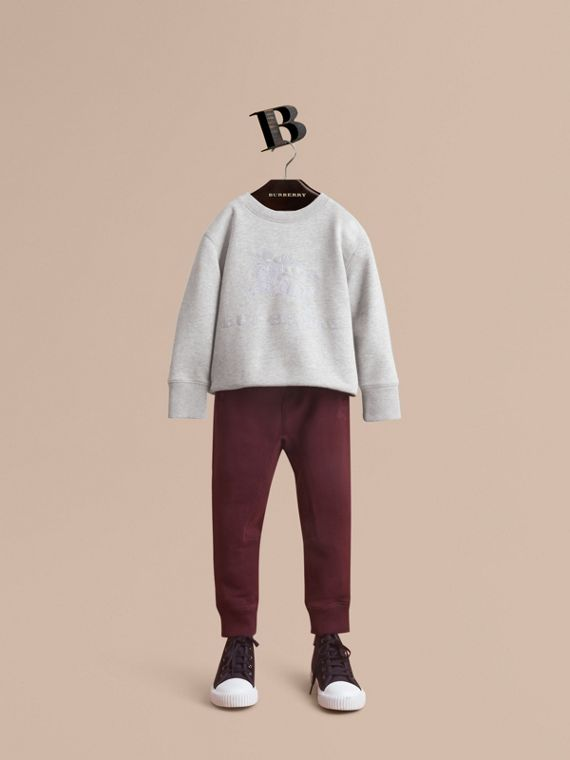 Drawcord Cotton Sweatpants in Burgundy