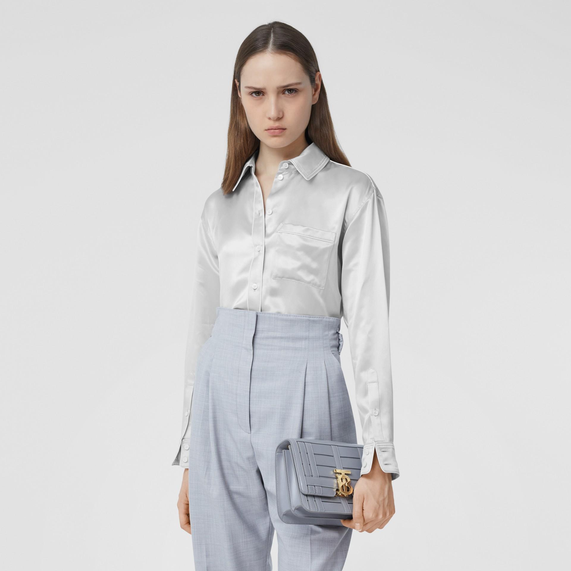 Silk Satin Shirt in Light Pebble Grey - Women | Burberry - gallery image 5