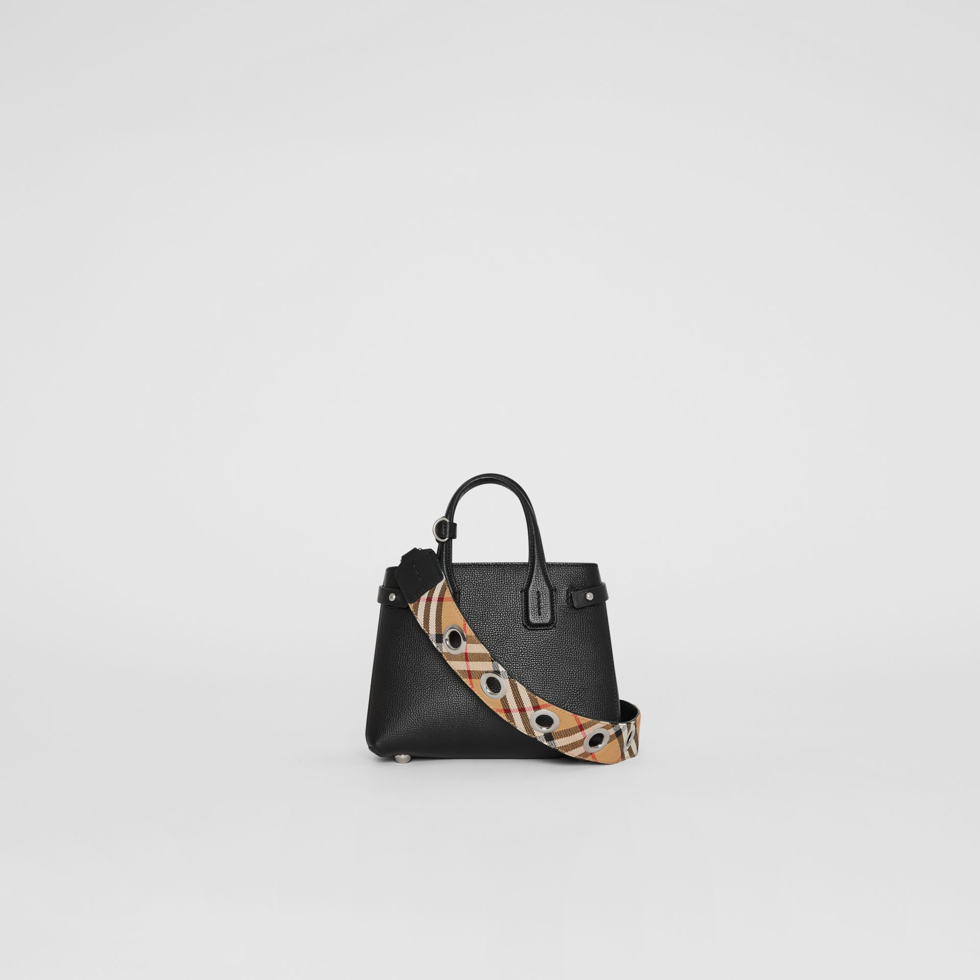 The Baby Banner in Leather and Vintage Check in Black - Women | Burberry Singapore - gallery image 7