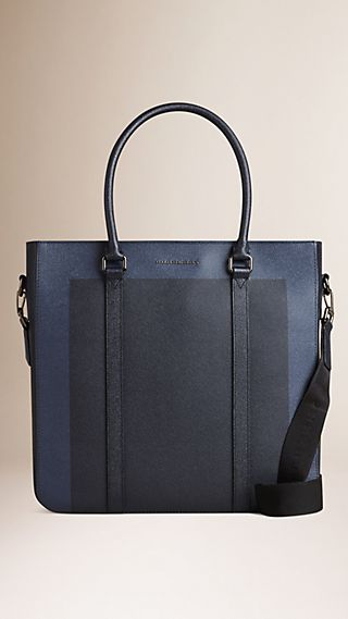Colour Block London Leather Tote Bag