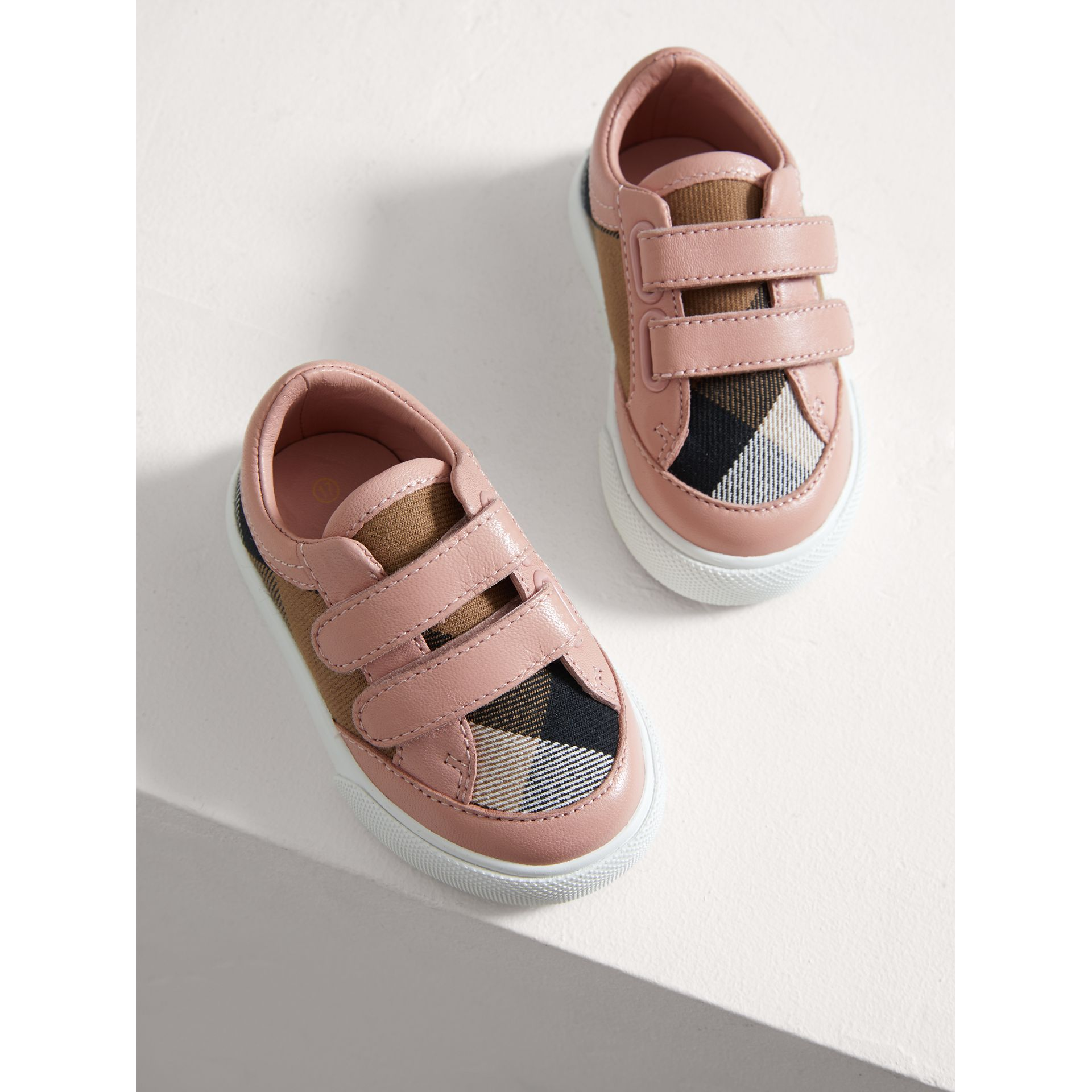 House Check and Leather Trainers in Peony Rose Melange - Children | Burberry - gallery image 3