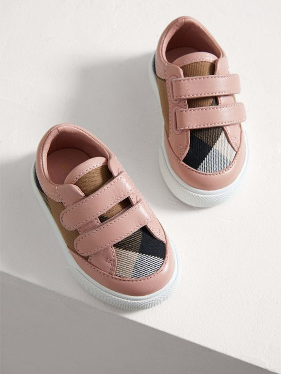 House Check and Leather Trainers in Peony Rose Melange - Children | Burberry - cell image 3