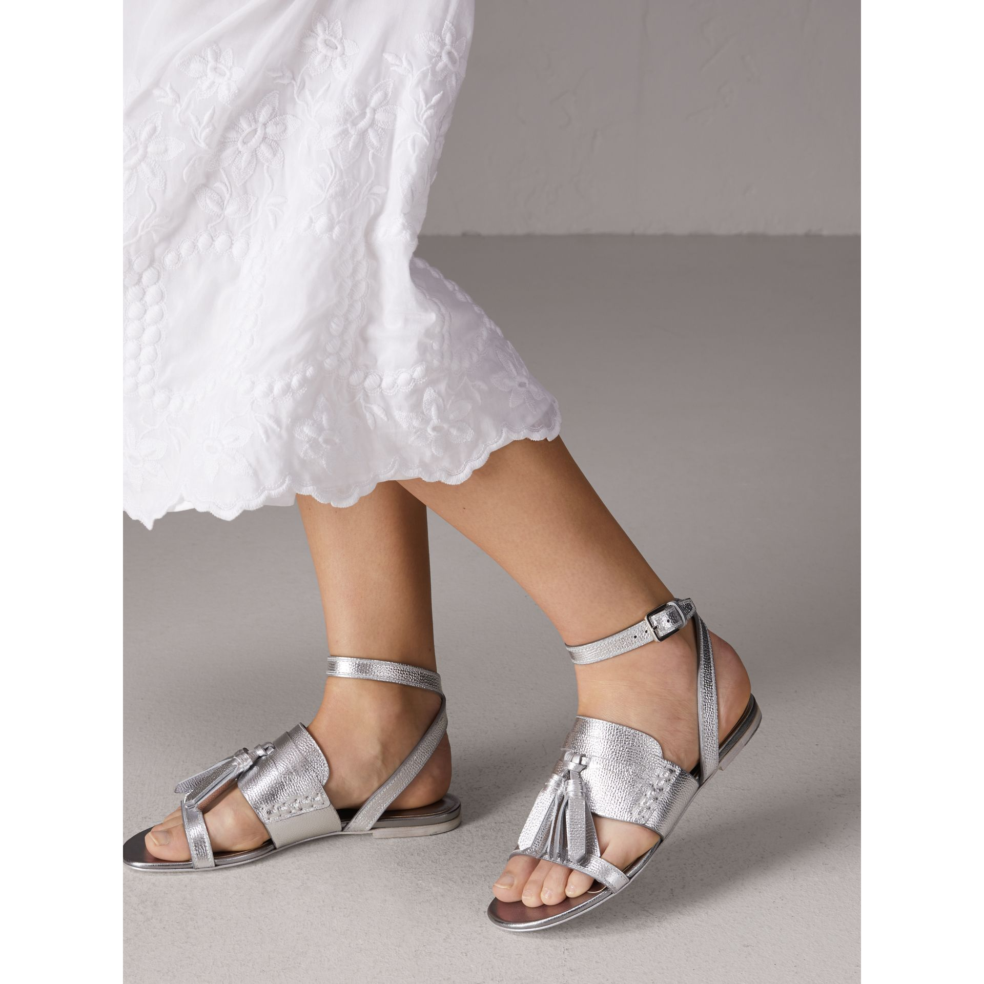Tasselled Metallic Leather Sandals in Silver - Women | Burberry - gallery image 2