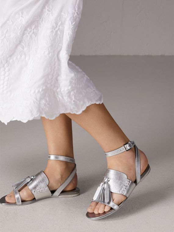 Tasselled Metallic Leather Sandals in Silver - Women | Burberry United States - cell image 2