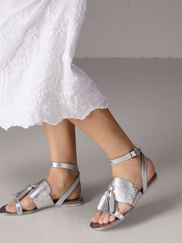 Tasselled Metallic Leather Sandals in Silver - Women | Burberry United Kingdom - cell image 2