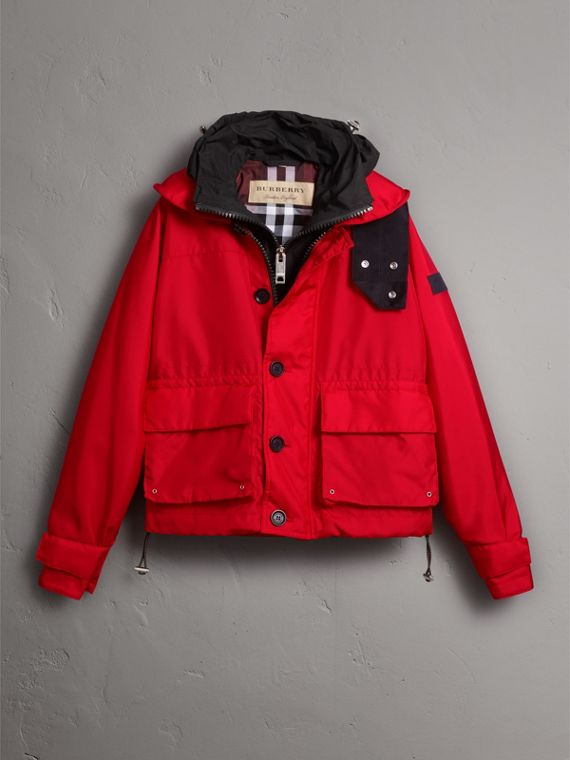 Nylon Canvas Deck Jacket with Detachable Warmer in Military Red - Men | Burberry - cell image 3