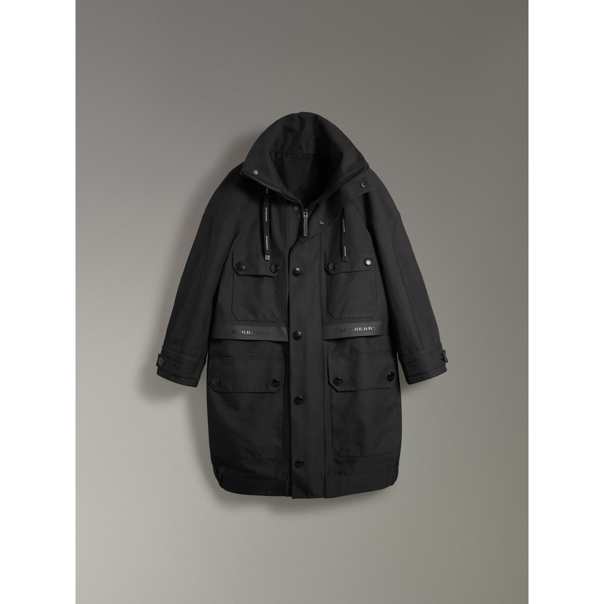 Bonded Technical and Cotton Twill Parka in Black | Burberry United States - gallery image 3