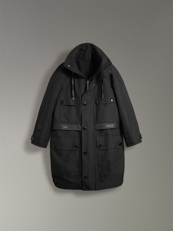 Bonded Technical and Cotton Twill Parka in Black | Burberry Australia - cell image 3