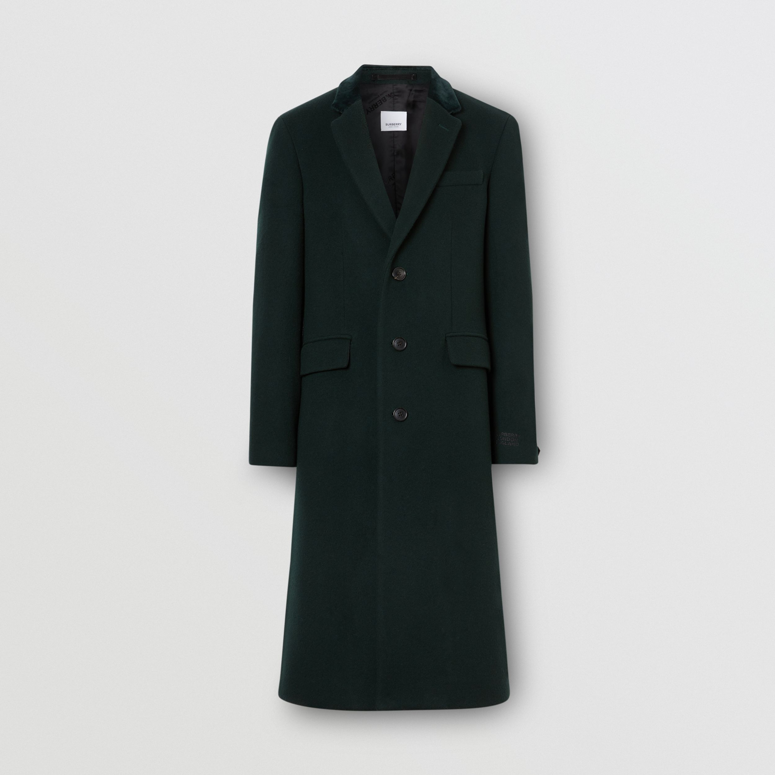 Velvet Trim Wool Cashmere Tailored Coat in Dark Pine Green - Men | Burberry - 4