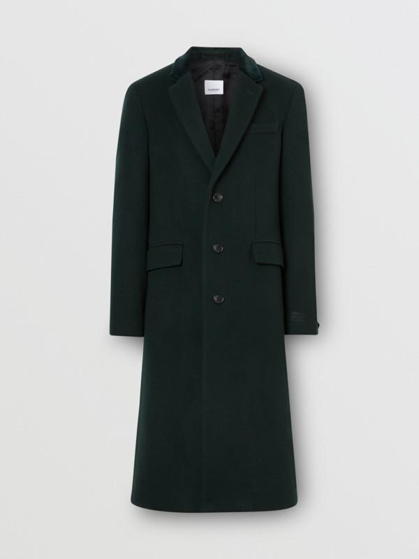 Velvet Trim Wool Cashmere Tailored Coat in Dark Pine Green - Men | Burberry - cell image 3