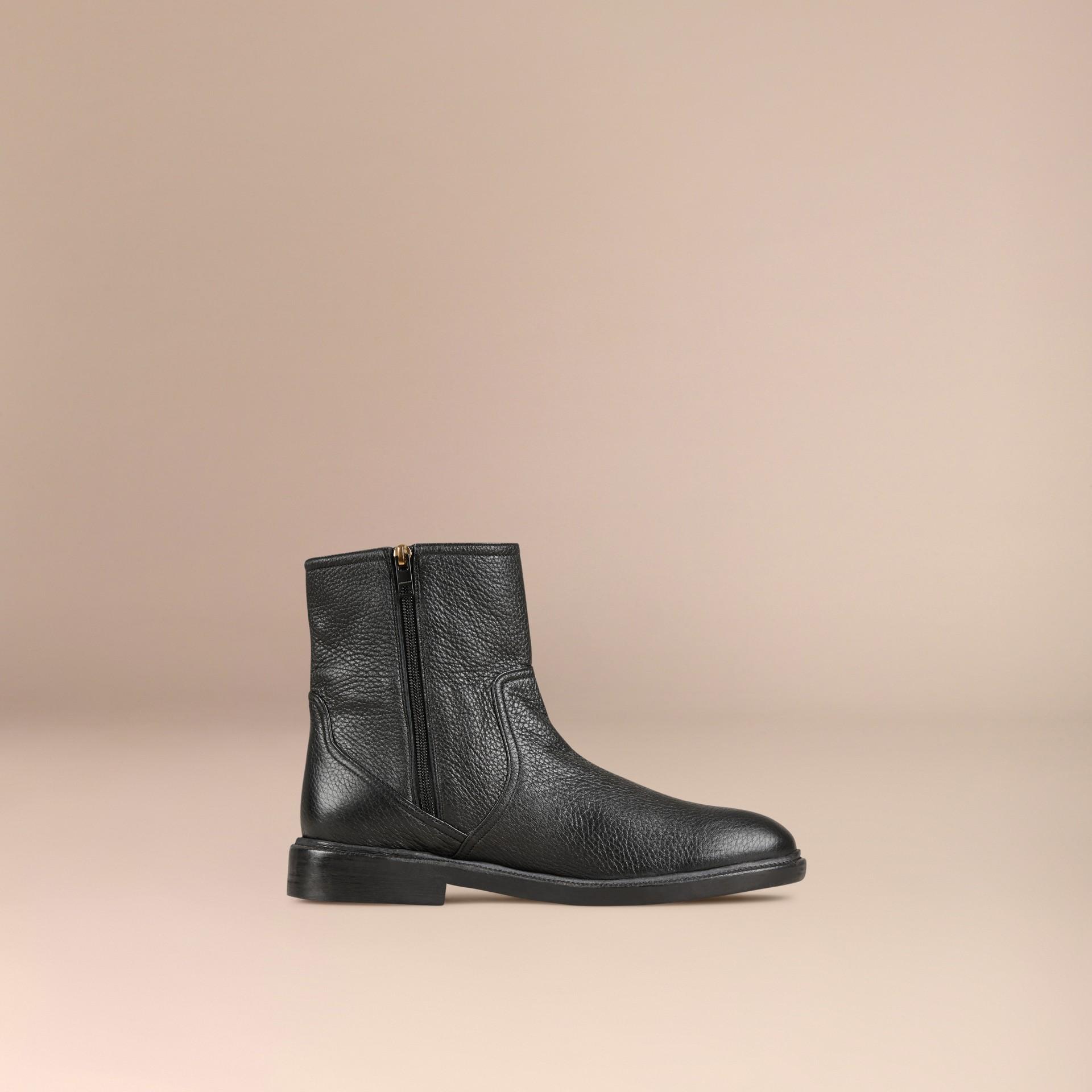 Black Deerskin Ankle Boots - gallery image 3