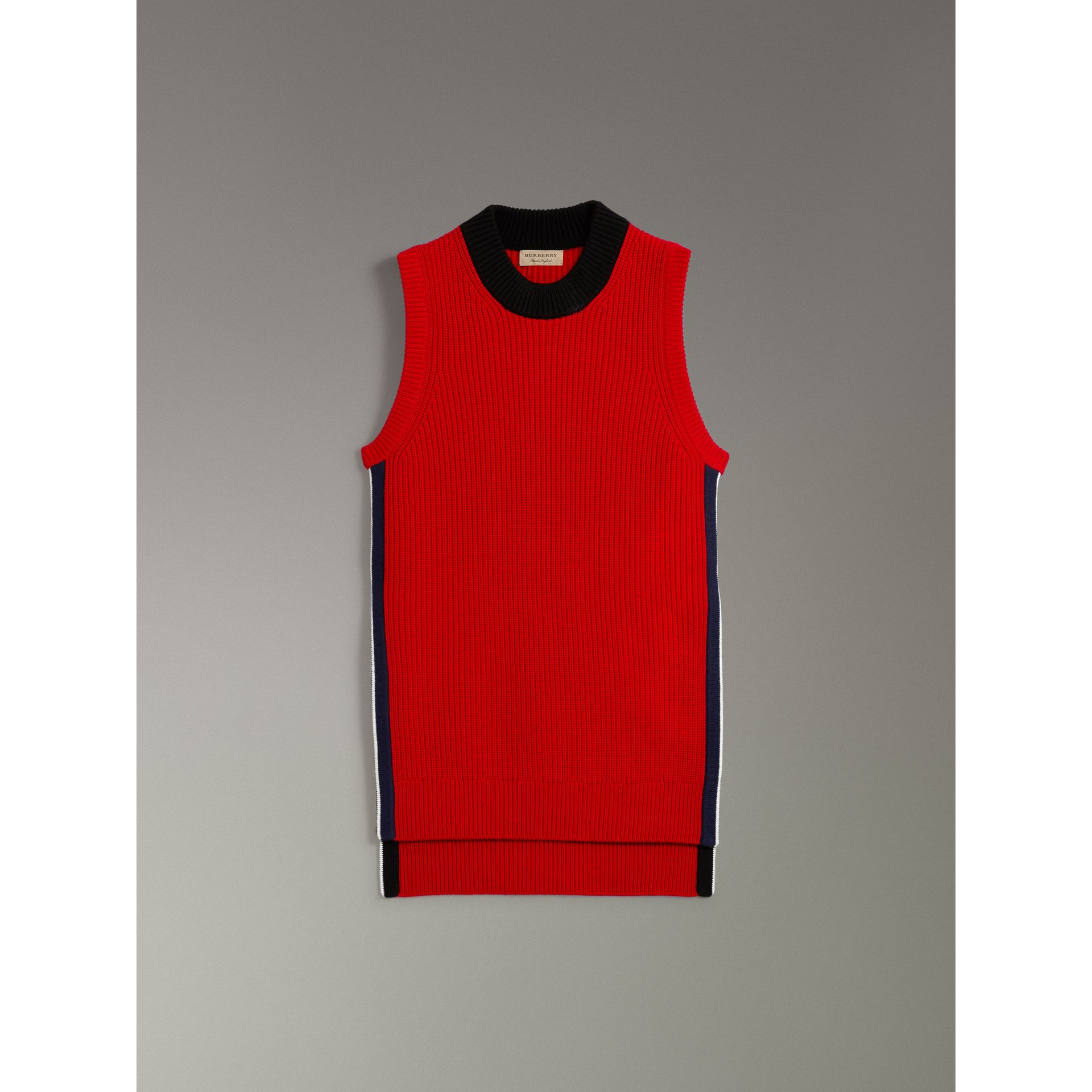 Rib Knit Wool Cashmere Vest in Military Red - Women | Burberry - gallery image 3
