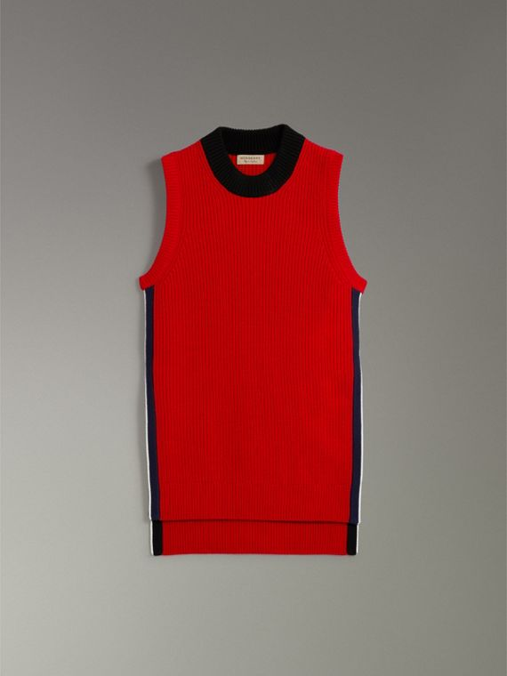 Rib Knit Wool Cashmere Vest in Military Red - Women | Burberry - cell image 3