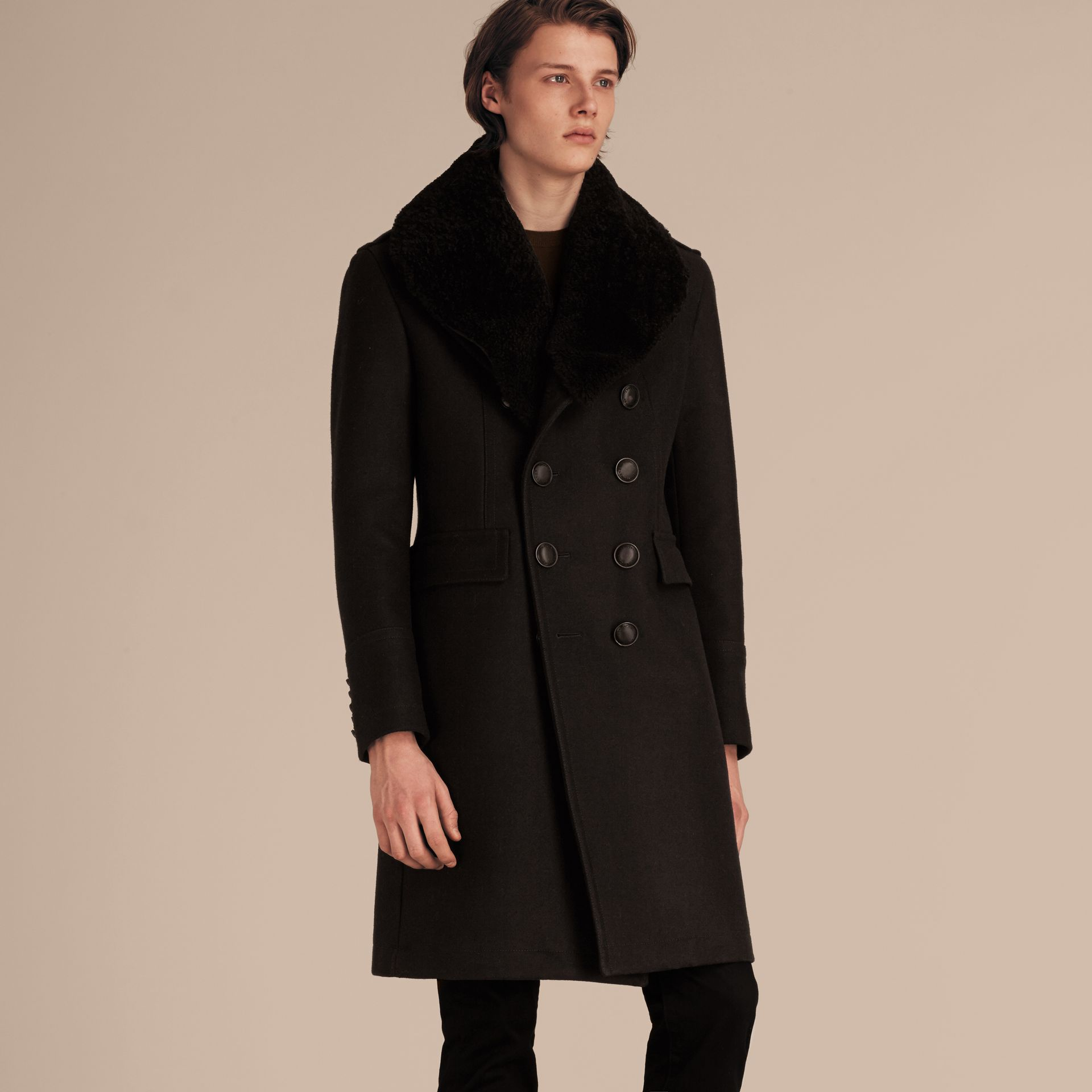 Black Technical Wool Greatcoat with Detachable Shearling Collar - gallery image 8