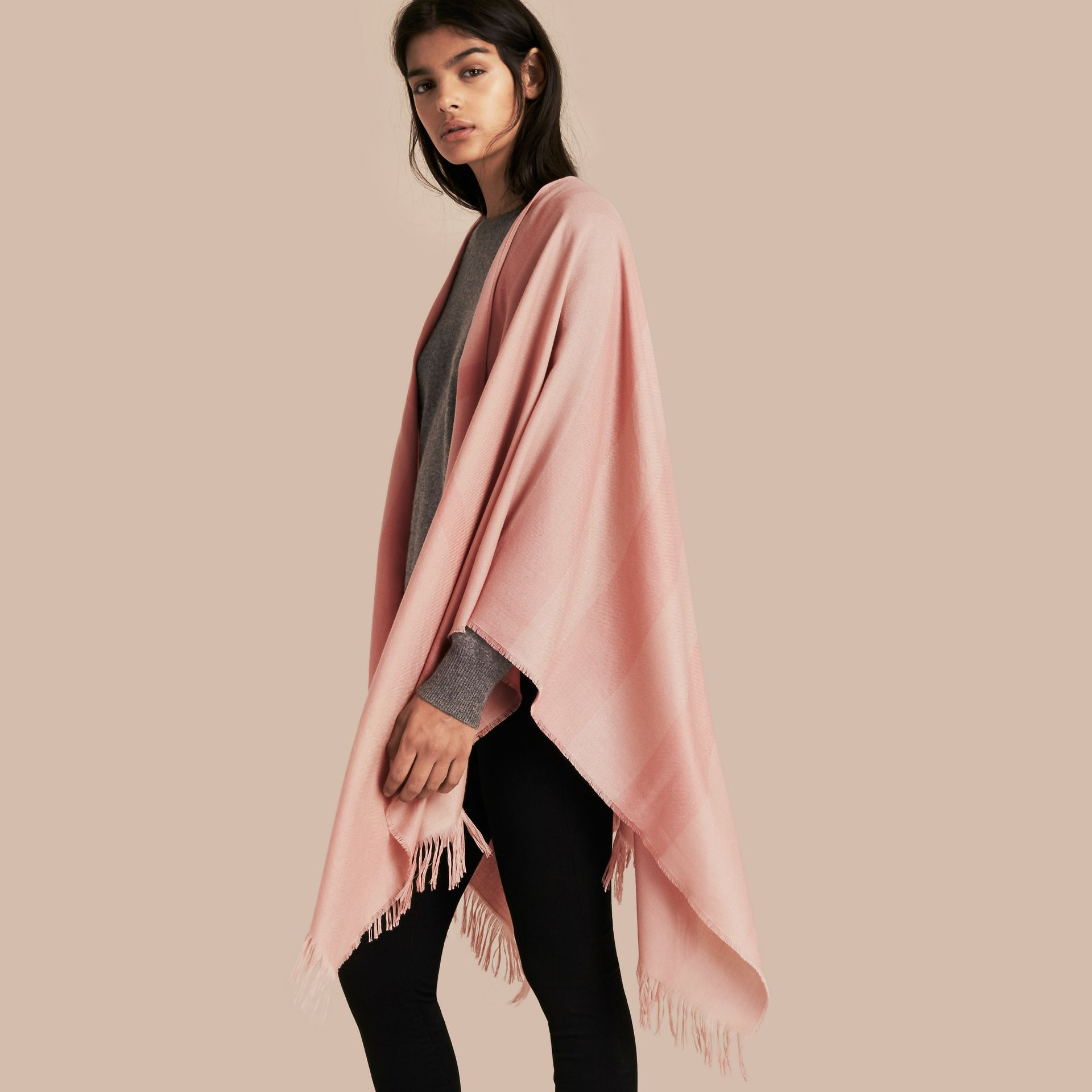Lightweight Check Cashmere Poncho in Ash Rose - gallery image 1