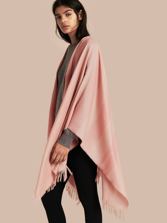 Lightweight Check Cashmere Poncho Rose
