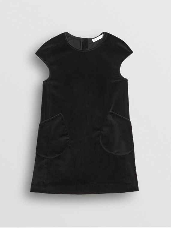 Piping Detail Velvet Shift Dress in Black