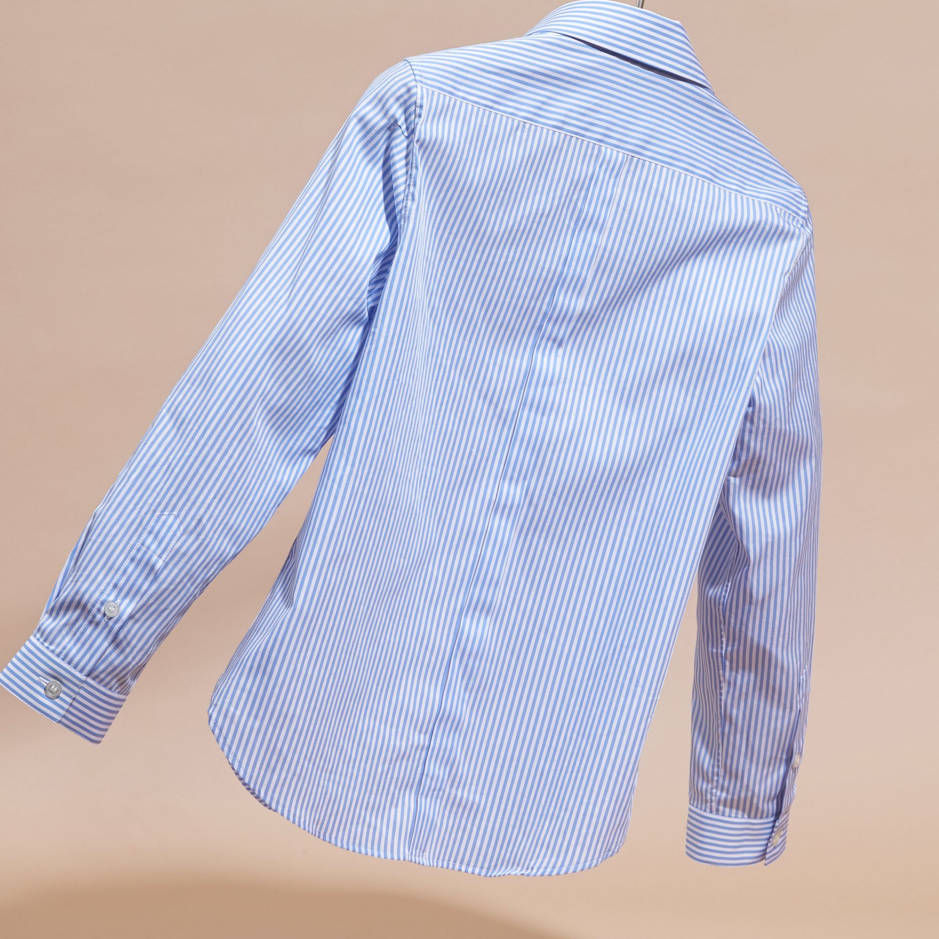 Hydrangea blue Striped Cotton Shirt - gallery image 4