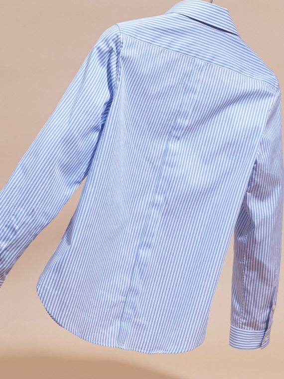 Hydrangea blue Striped Cotton Shirt - cell image 3