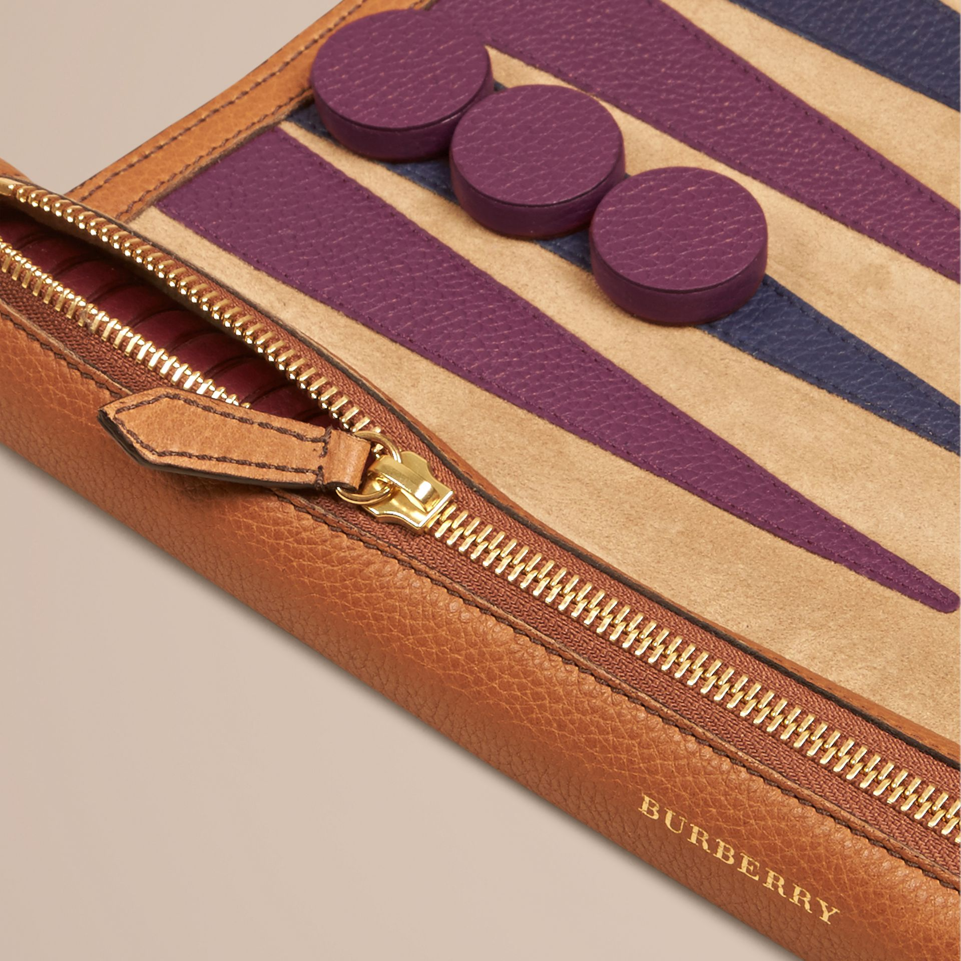 Tan Leather Travel Backgammon Set Tan - gallery image 2