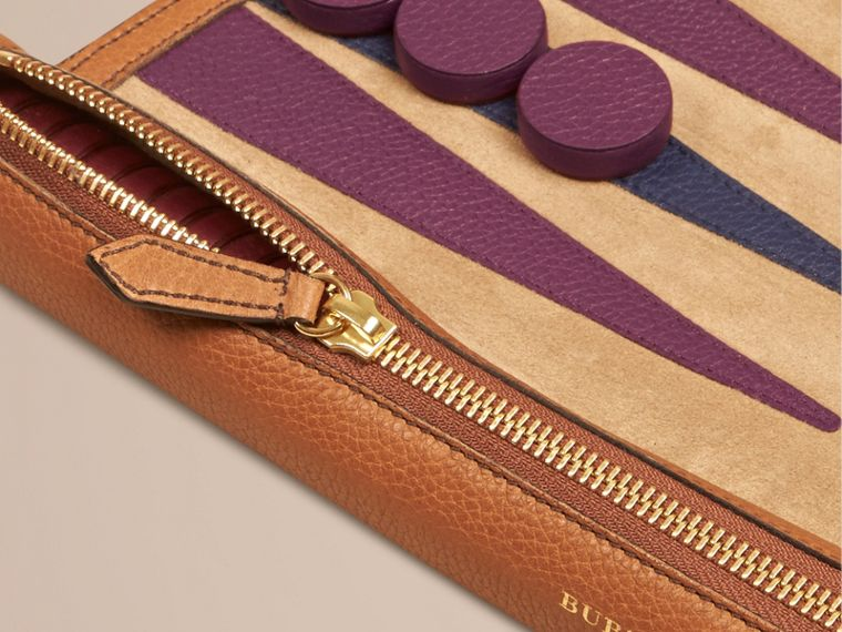 Tan Leather Travel Backgammon Set Tan - cell image 1