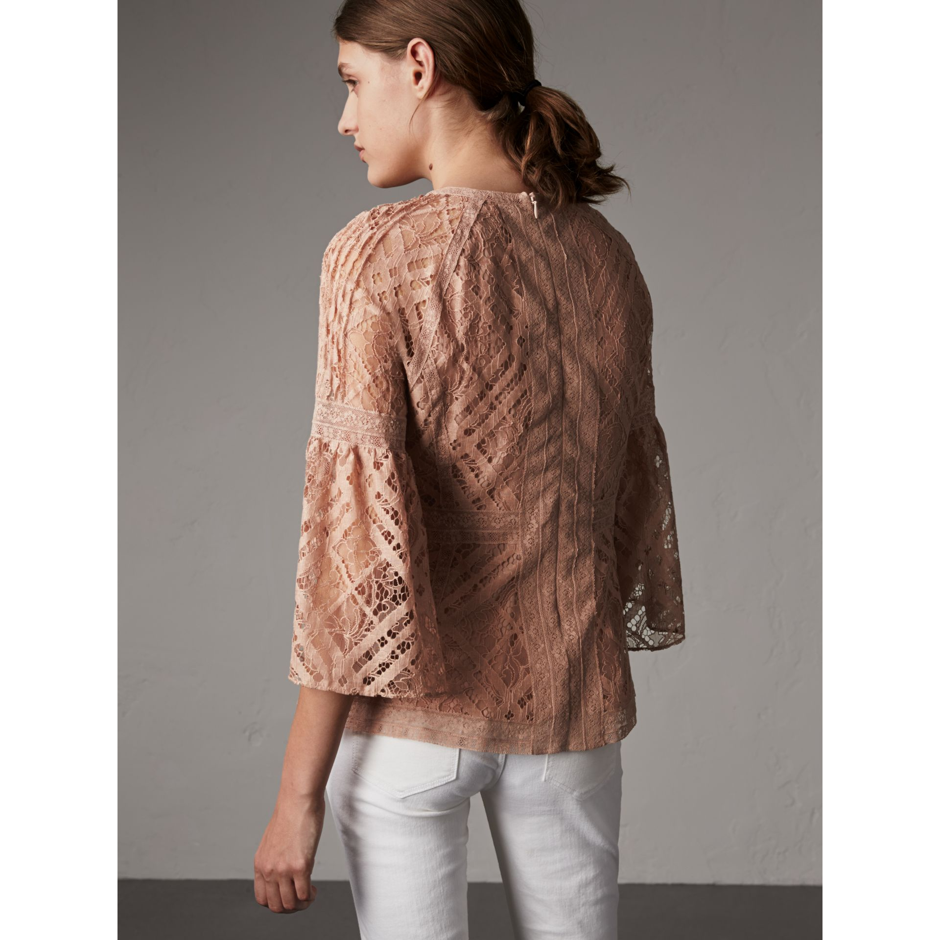 Bell-sleeve Floral and Check Lace Top in Pale Ash Rose - Women | Burberry - gallery image 3