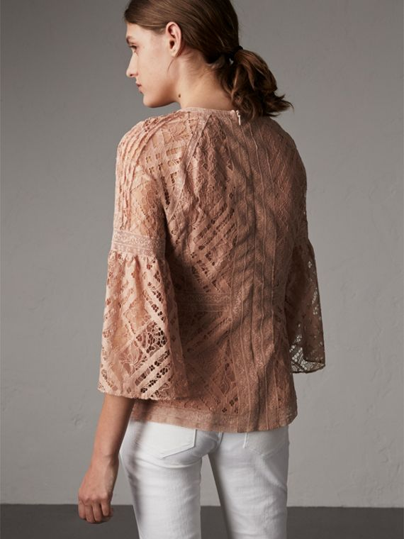 Bell-sleeve Floral and Check Lace Top in Pale Ash Rose - Women | Burberry - cell image 2