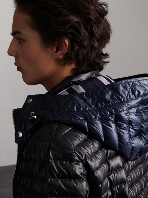 Packaway Hood Down-filled Puffer Jacket in Black - Men | Burberry - cell image 3