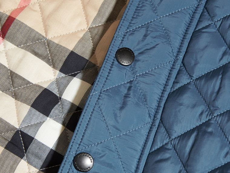 Diamond Quilted Jacket in Bright Steel Blue - cell image 1