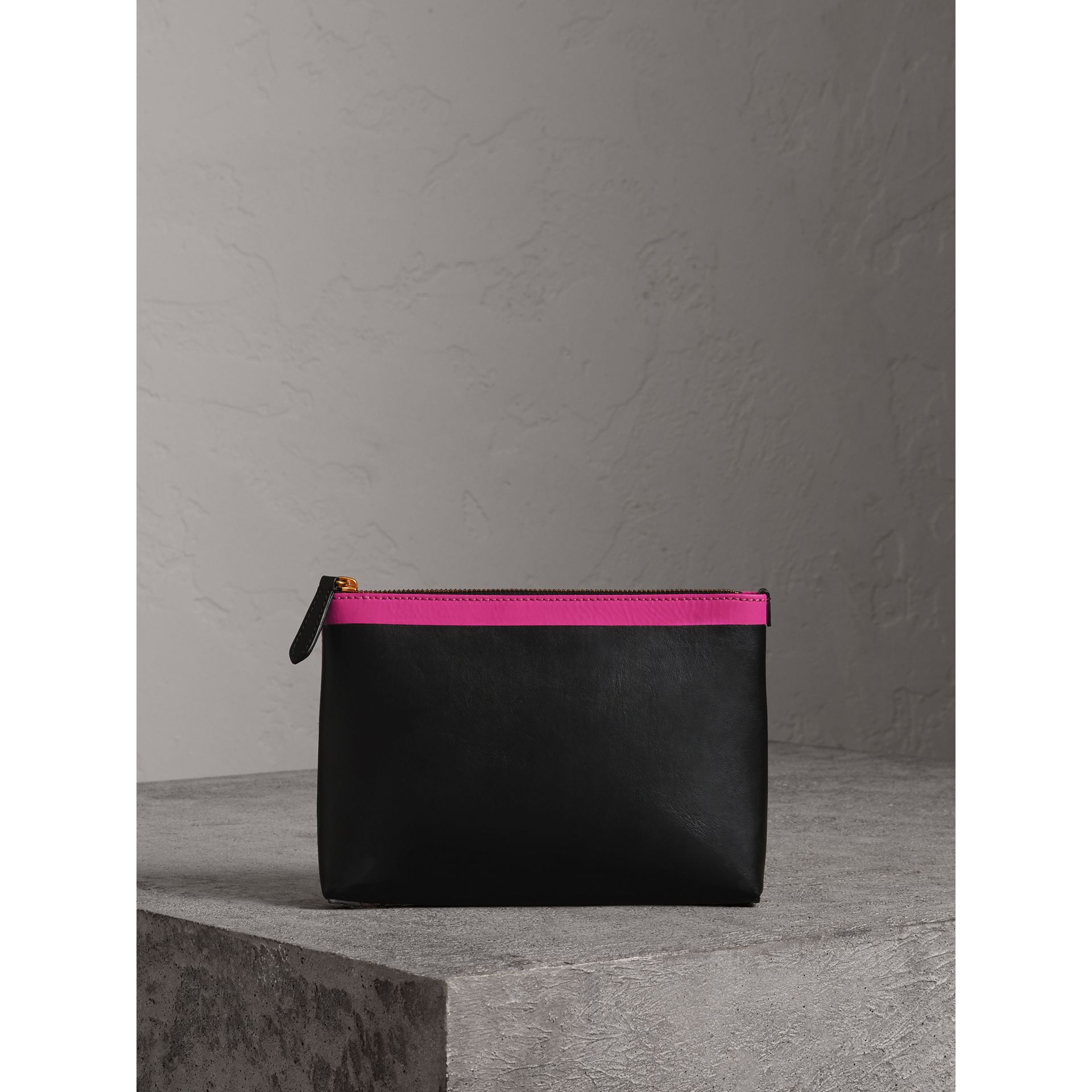Bonded Leather Zip Pouch in Black/neon Pink - Women | Burberry United States - gallery image 0