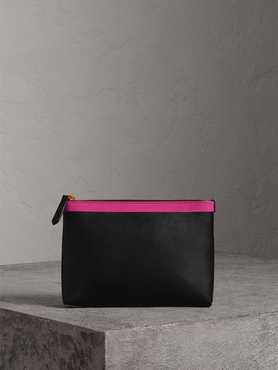 Bonded Leather Zip Pouch in Black/neon Pink