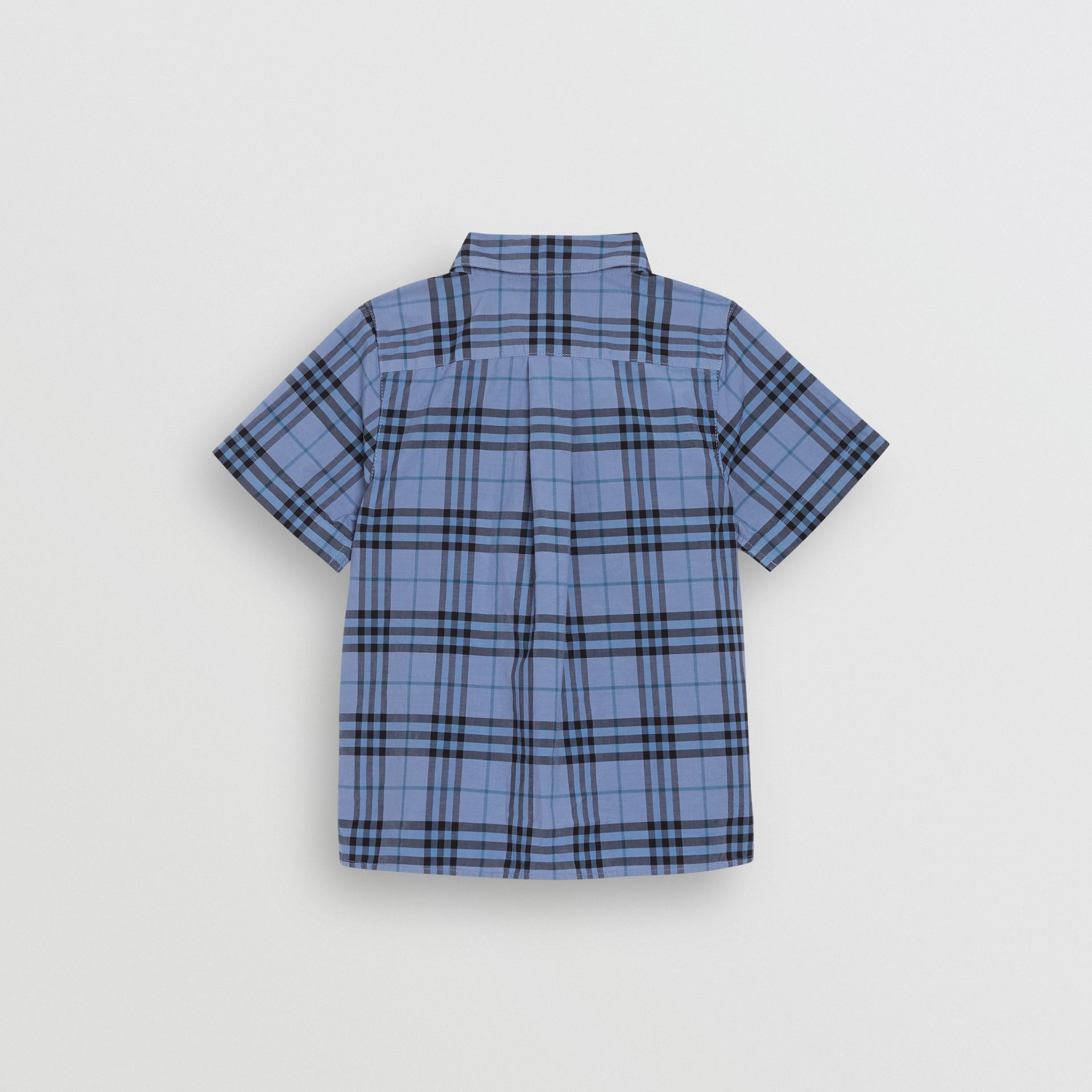 Short-sleeve Check Cotton Shirt in Dusty Blue | Burberry - gallery image 3