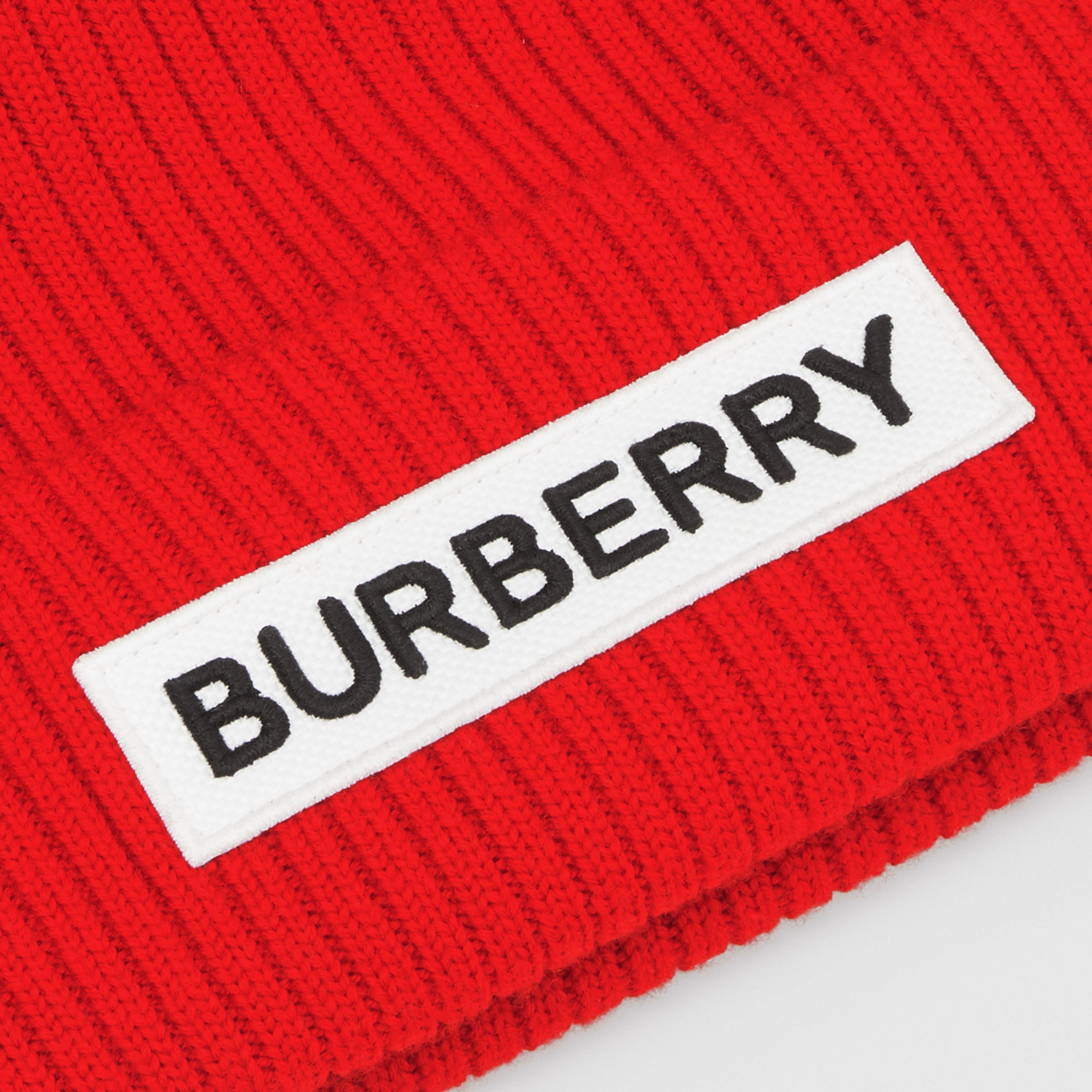 Logo Detail Rib Knit Merino Wool Beanie in Bright Red | Burberry Australia - 2