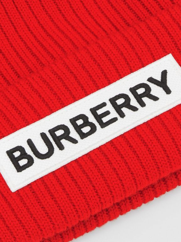 Logo Detail Rib Knit Merino Wool Beanie in Bright Red - Children | Burberry - cell image 1