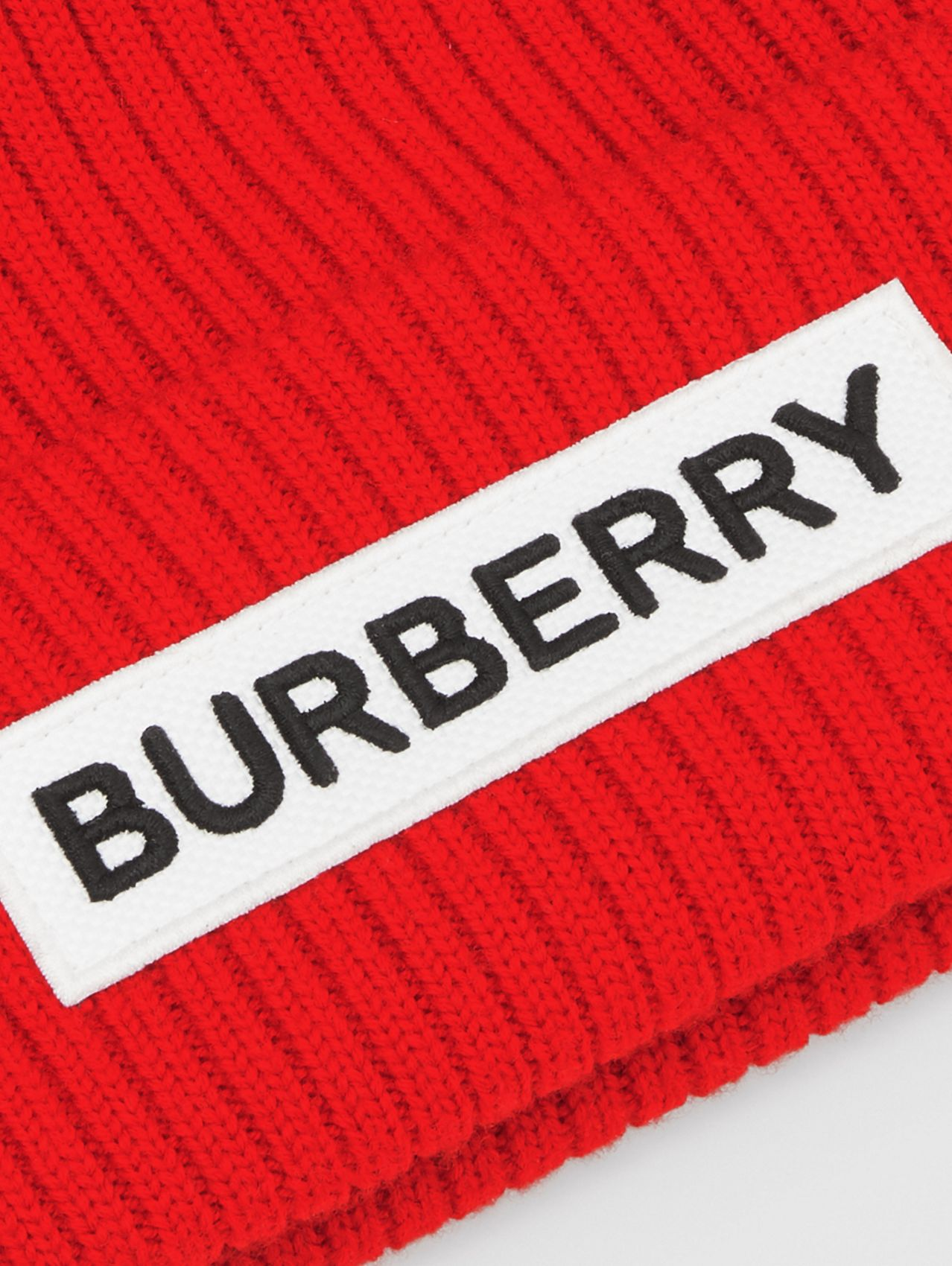 Logo Detail Rib Knit Merino Wool Beanie in Bright Red
