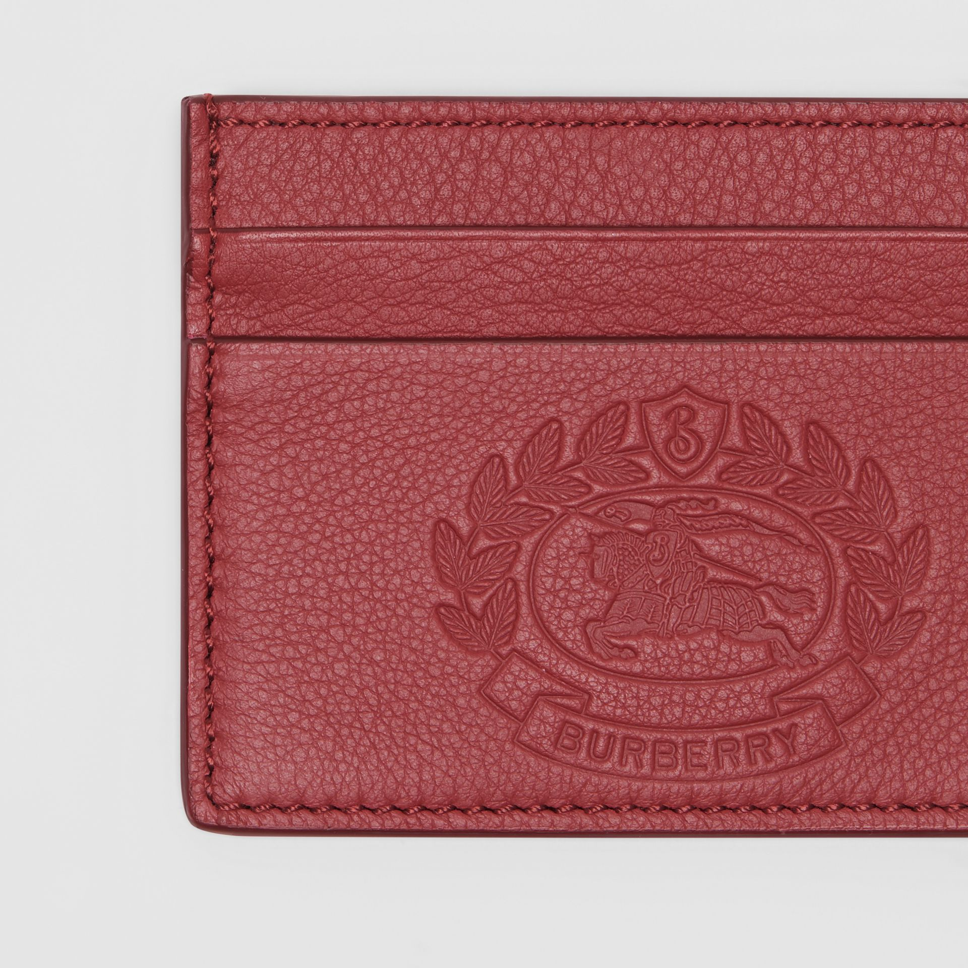 Embossed Crest Leather Card Case in Crimson | Burberry Australia - gallery image 1