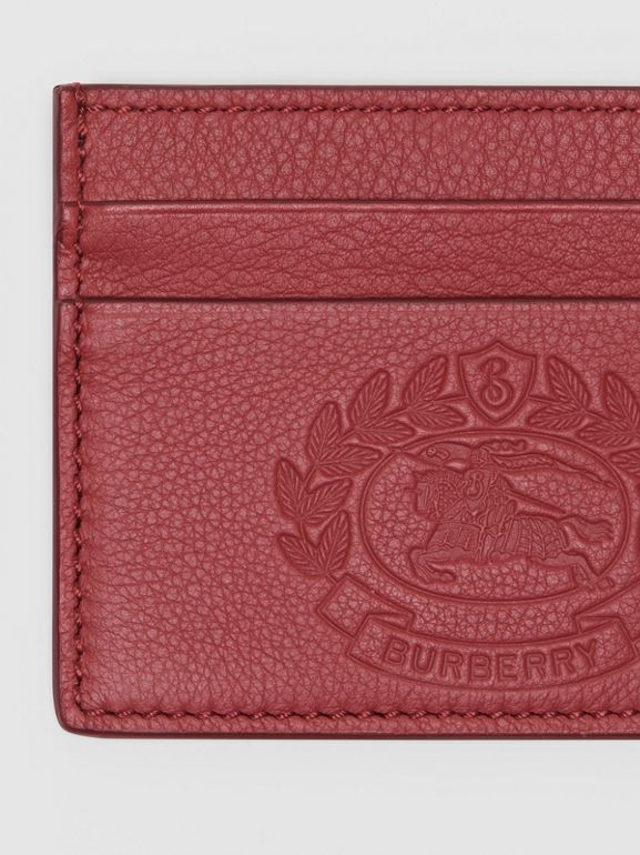 Embossed Crest Leather Card Case in Crimson | Burberry Australia - cell image 1