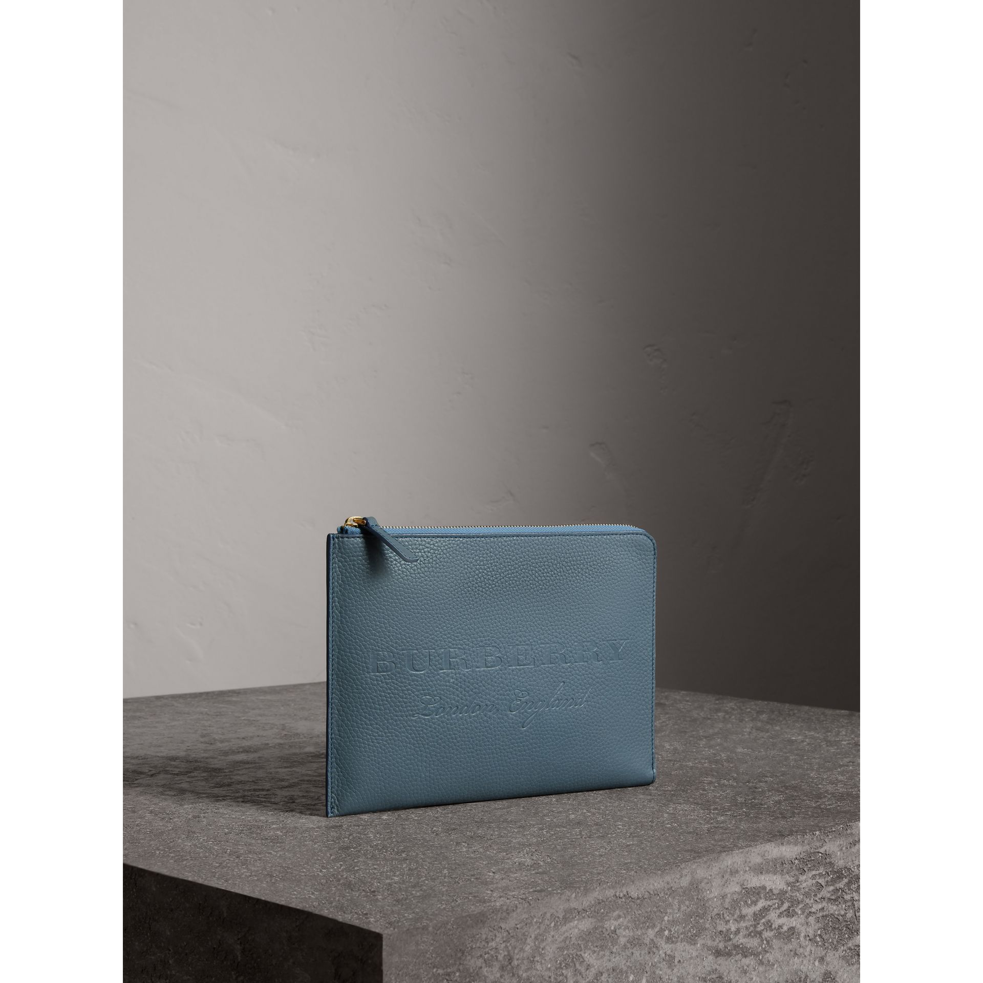 Embossed Leather Ziparound Pouch and Coin Case in Dusty Teal Blue | Burberry Singapore - gallery image 4