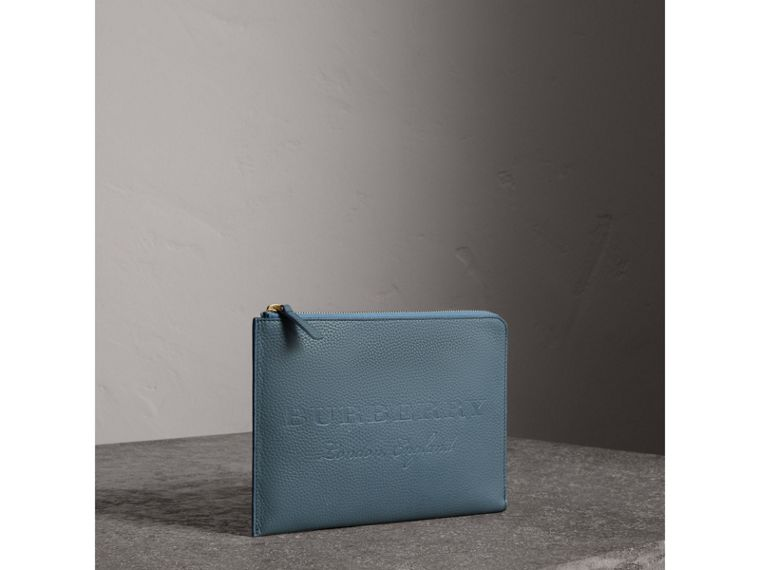 Embossed Leather Ziparound Pouch and Coin Case in Dusty Teal Blue | Burberry - cell image 4