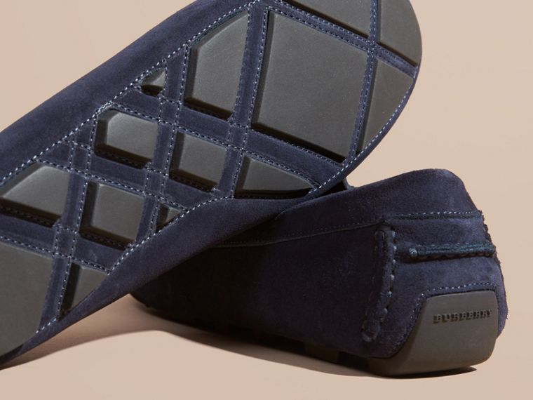 Dark navy Suede Loafers with Engraved Check Detail - cell image 4
