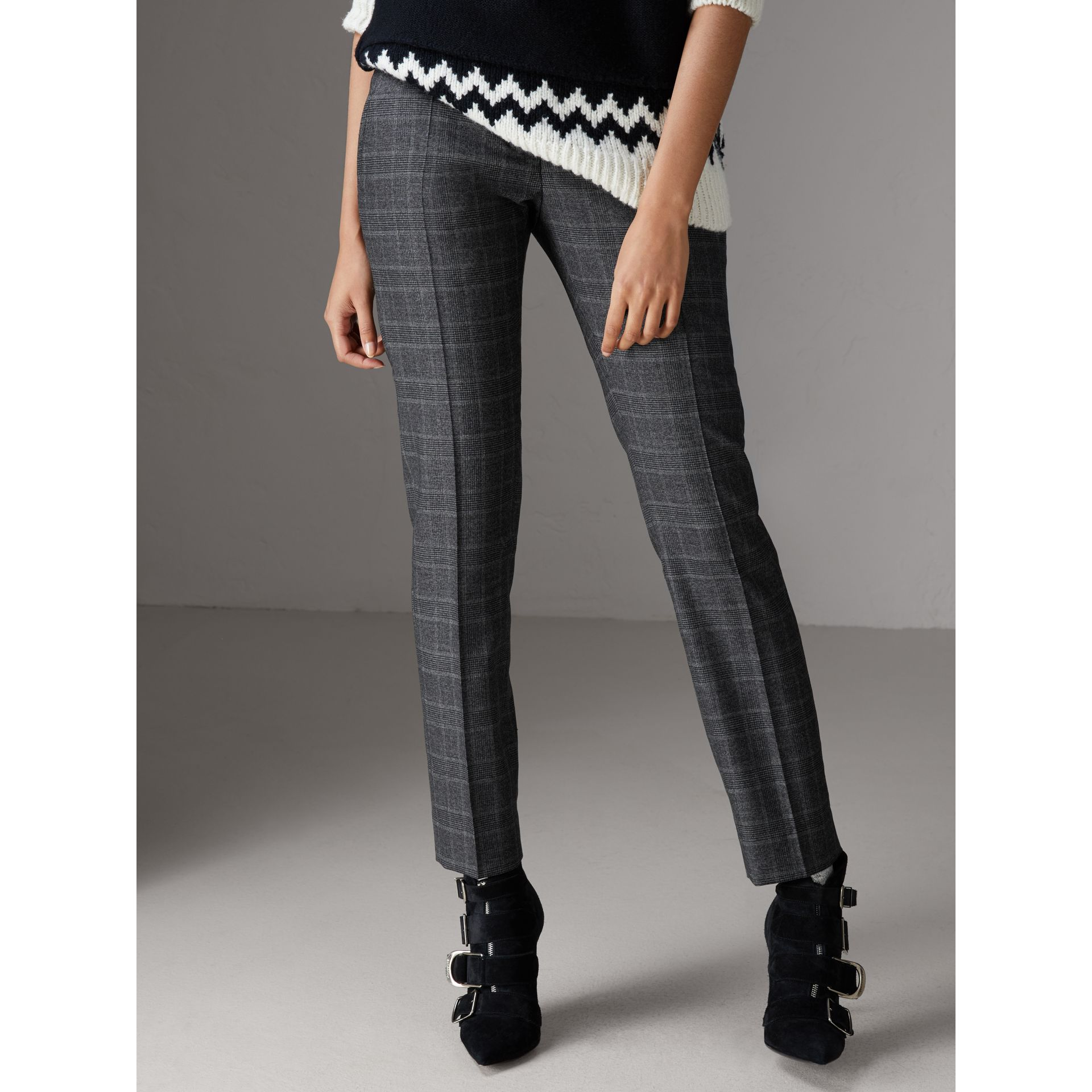 Prince of Wales Check Wool Blend Trousers in Dark Grey - Women | Burberry - gallery image 4