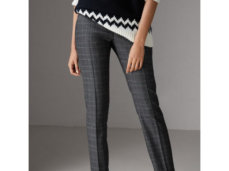 Prince of Wales Check Wool Blend Trousers in Dark Grey - Women | Burberry - cell image 4