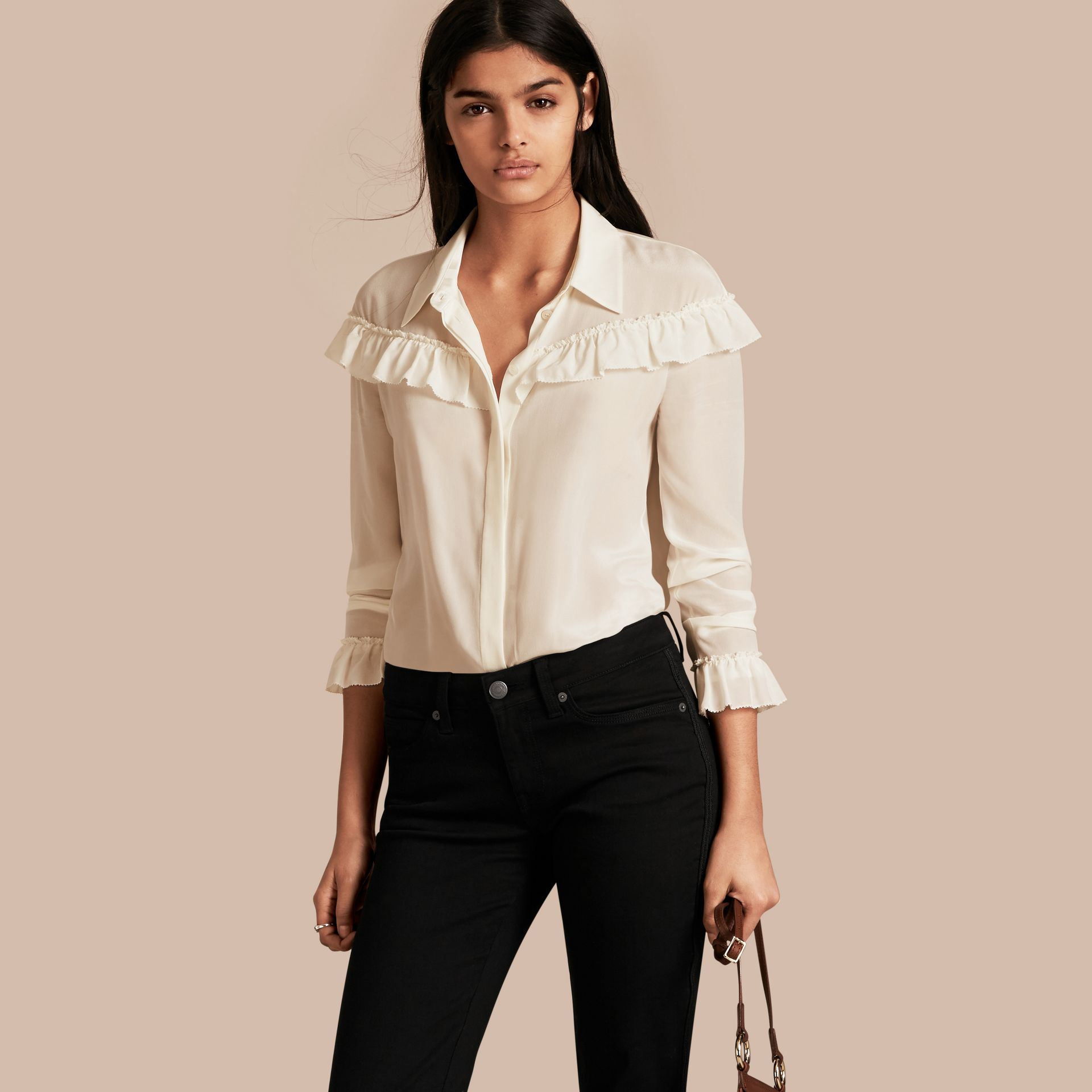 Frill Detail Silk Crepe De Chine Shirt in Natural White - gallery image 1
