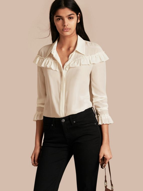Frill Detail Silk Crepe De Chine Shirt Natural White