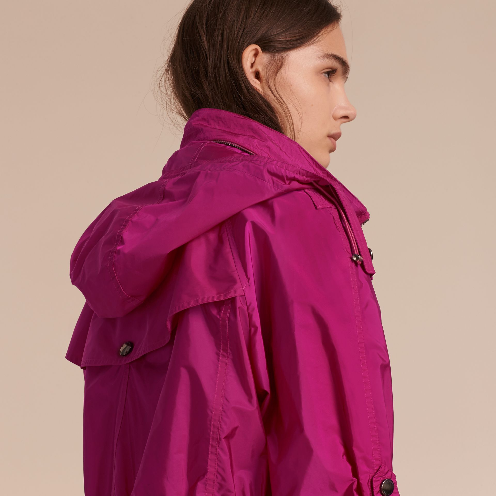 Fuchsia Showerproof Parka Jacket with Packaway Hood Fuchsia - gallery image 6