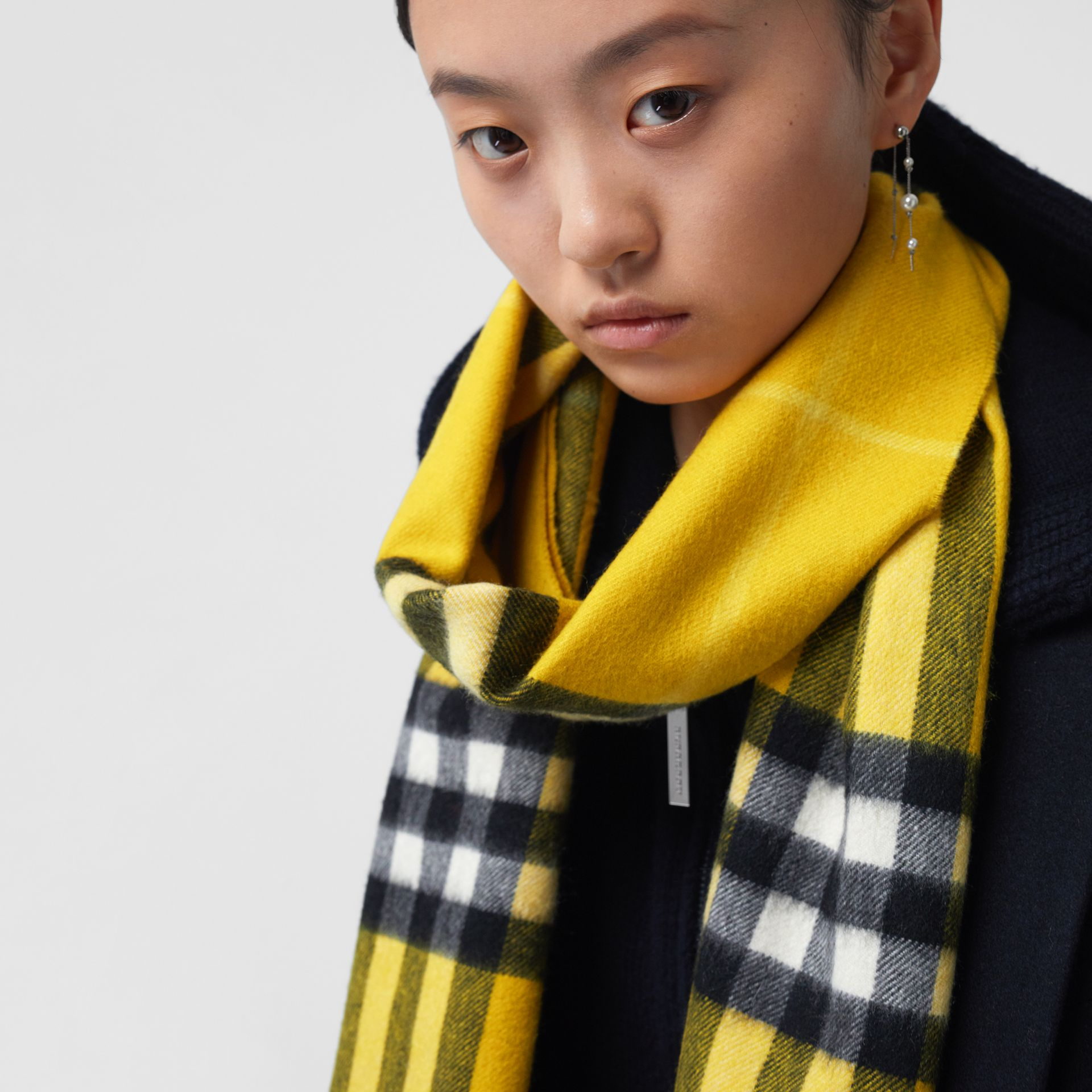 The Classic Check Cashmere Scarf in Gorse Yellow | Burberry - gallery image 6