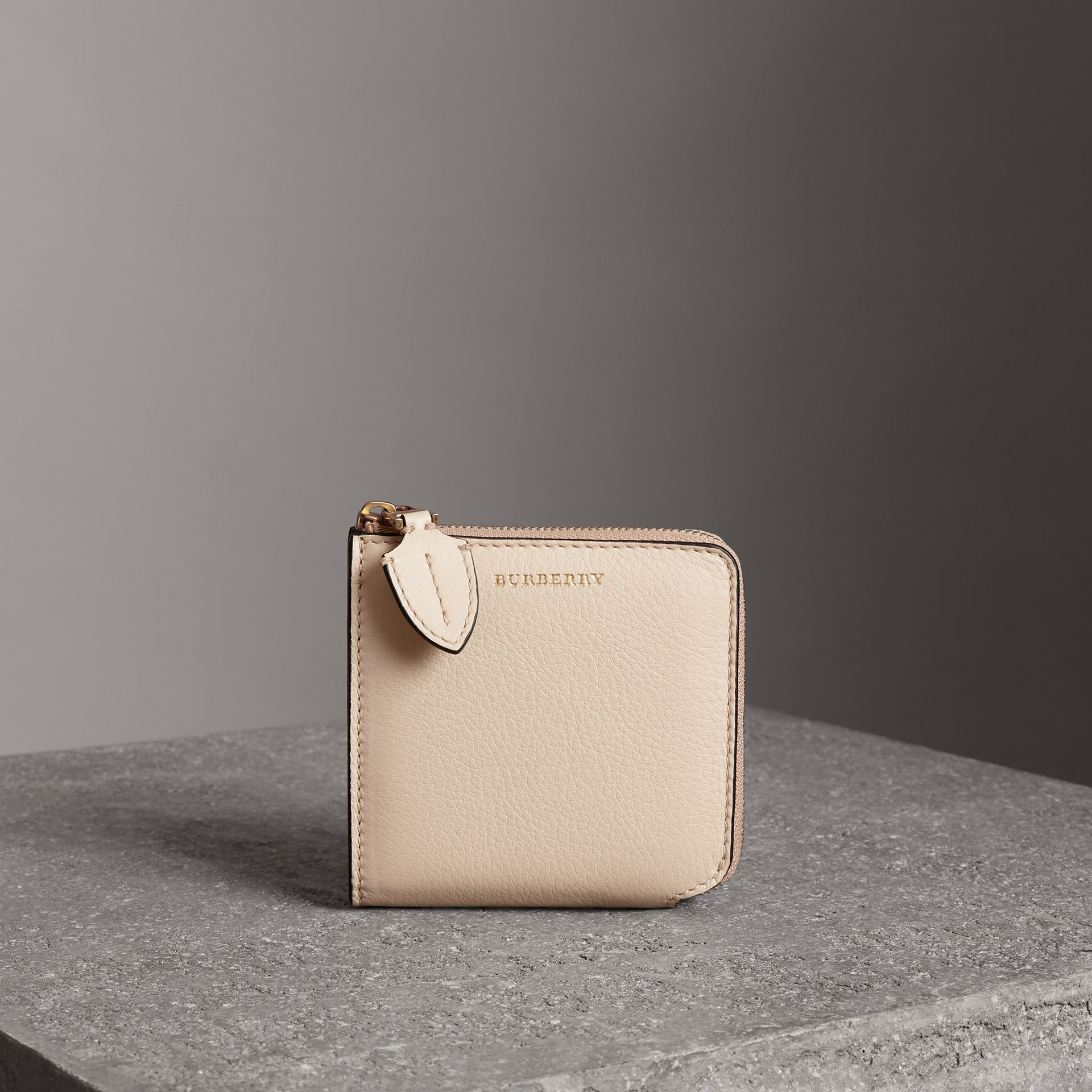 Grainy Leather Square Ziparound Wallet in Limestone - Women | Burberry Australia - gallery image 0