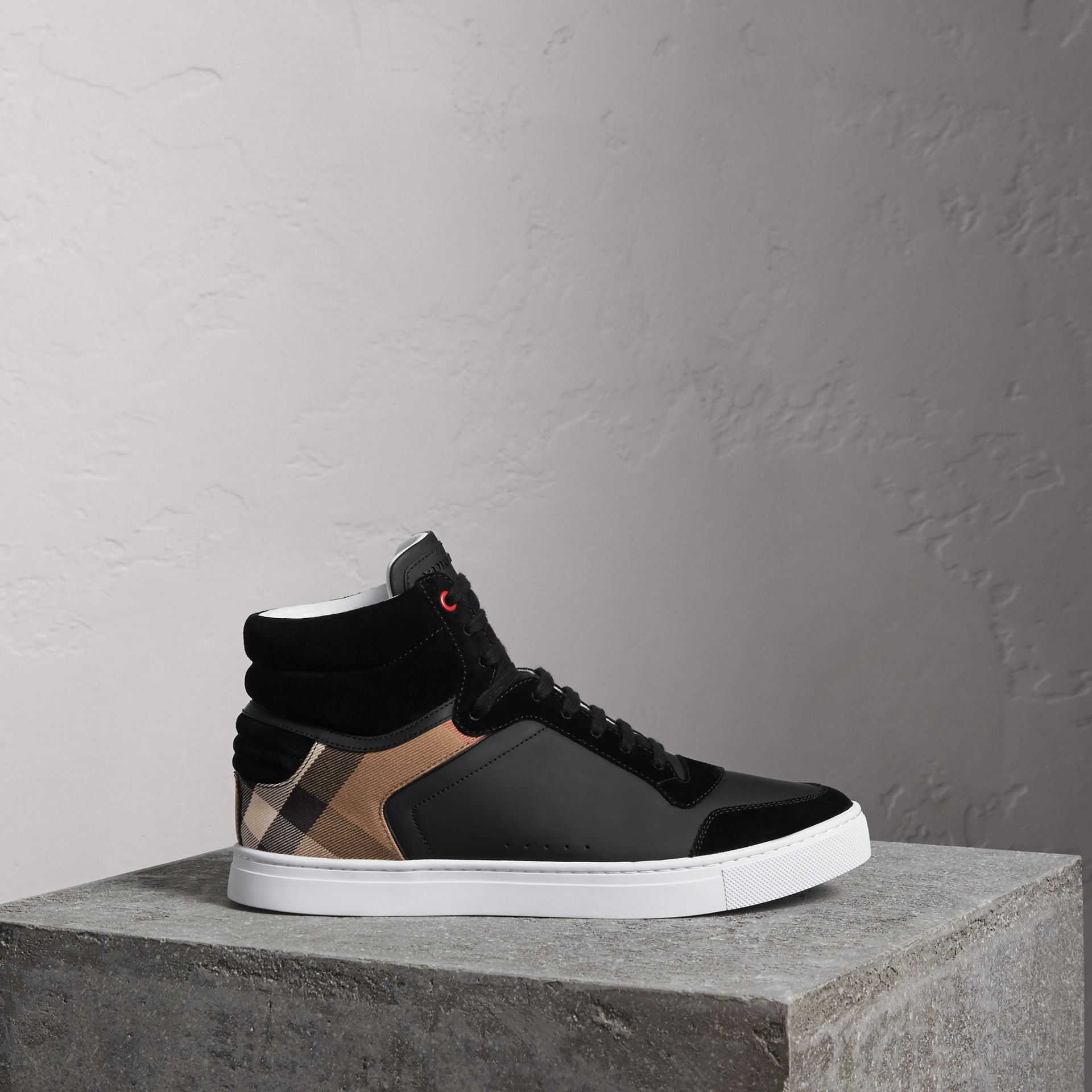 Leather and House Check High-top Sneakers in Black - Men | Burberry Hong Kong - gallery image 0