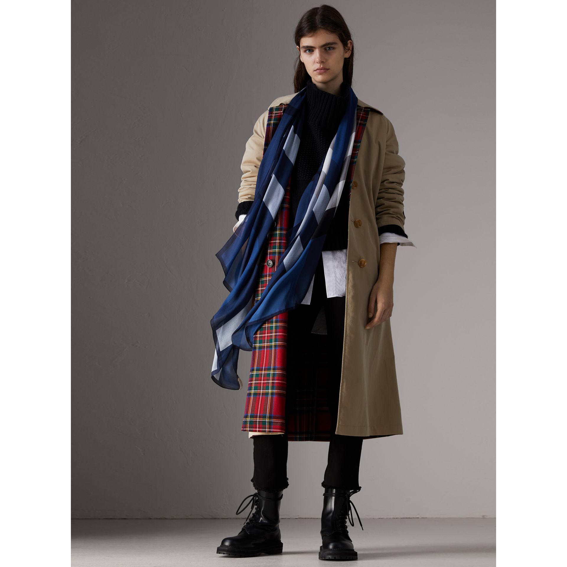 Lightweight Check Silk Scarf in Cadet Blue - Women | Burberry - gallery image 2